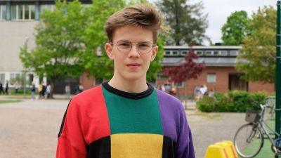 en gymnasiestuderande, ung kille, i kort mörkt hår och spräcklig tröjja.