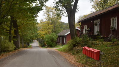 En väg med röda hus och röda postlådor i höstlandskap.