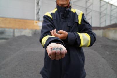 Järnsvamp i handen på Åsa Bäcklin.