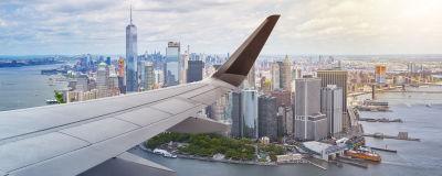 Flygplan över New York.