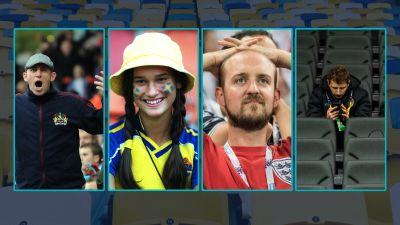 En bild med fyra personporträtt av olika fotbollssupportrar