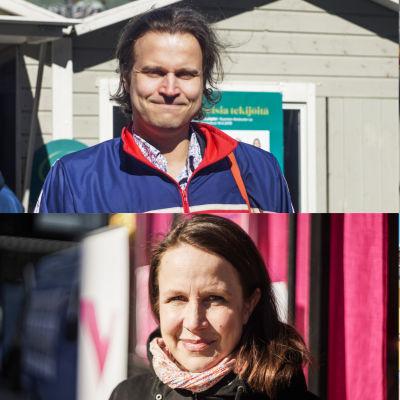 En samlingsbild på fyra politiker på Narinkens torg våren 2019.