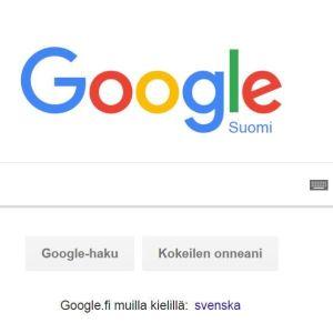 Googlen hakukonenäkymä.