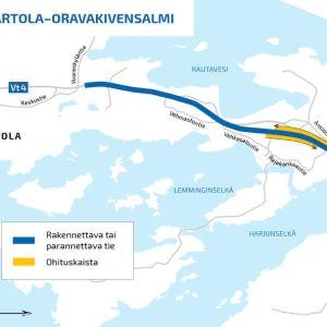 Karttakuva Nelostien parannusurakasta Hartolan pohjoispuolella.