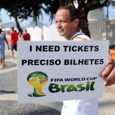 Brazil Football World Cup 2014 man looking for tickets to match