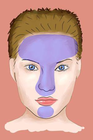 Illustration på ett ansikte med t-området markerat.