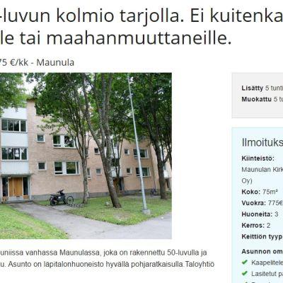 Skärmdump på rasistisk bostadsannons av privatperson.