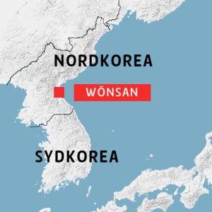 Staden Wŏnsan på en karta.