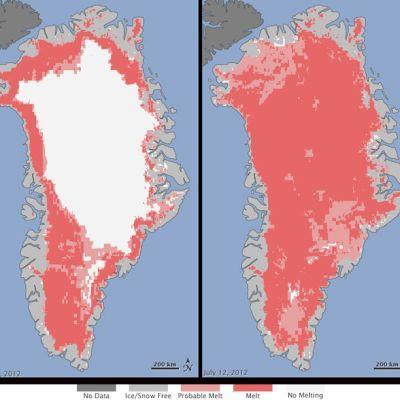 Grönlanti jäätikön sulamiskartta