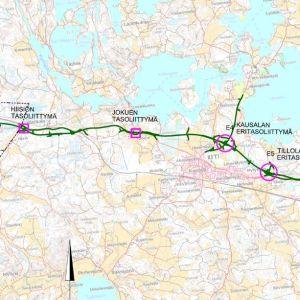 Karttakuva valtatie 12:n parannustöistä Lahden ja Iitin välillä