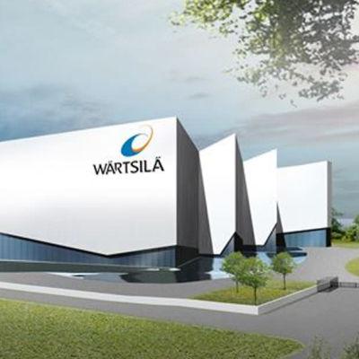 Arkitektskiss av Wärtsiläs planerade byggnad i Vasklot.