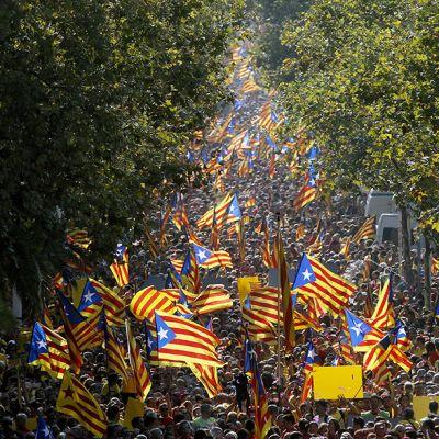 Kansanäänestystä Katalonian itsenäistymisestä kannattavien kulkue Barcelonassa, Espanjassa, 11. syyskuuta.
