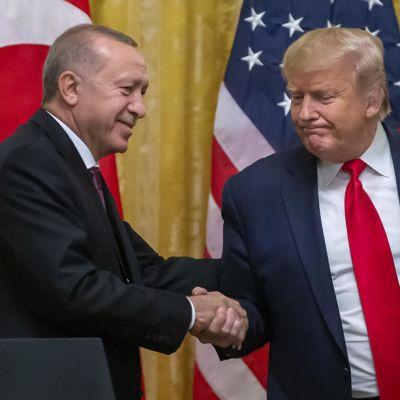 Trump ja Erdogan kättelevät Valkoisessa talossa marraskuussa 2019.