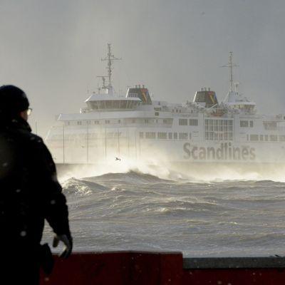 Scandlinesin lautta talvimyrskyssä 6. joulukuuta 2013.
