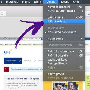 Mac-tietokoneen Esikatselu-ohjelmassa valittu Työkalut ja nuoli kohdassa Säädä kokoa.