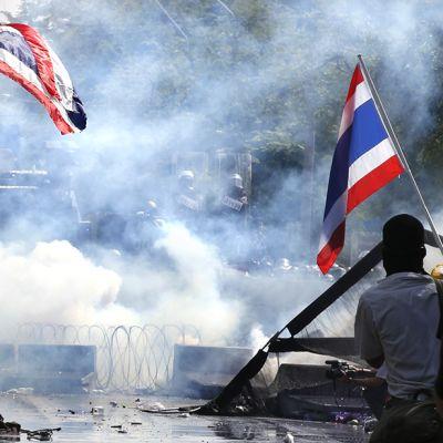 Mielenosoittajia Thaimaan-lippujen kanssa
