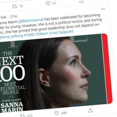 Kuvakaappaus Time-lehden Twitter-viestistä jossa kerrotaan Sanna Marinista.