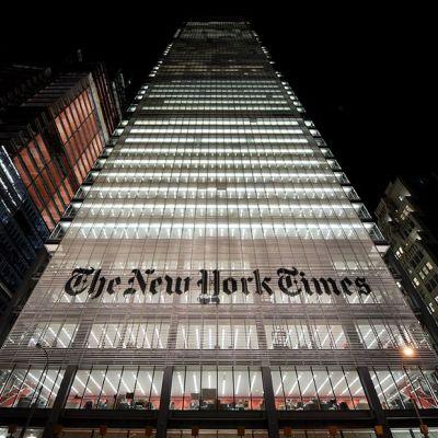 Suuri pilvenpiirtäjä jossa lukee The New York Times.