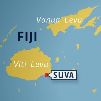 Karta som visar Fiji och huvudstaden Suva