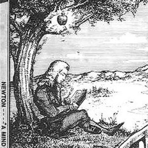 Apple yhtiön ensimmäinen Ronald Waynen suunnittelema logo, jossa Isaac Newton istuu omenpuun alla