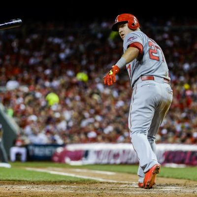 Mike Trout baseballin MLB-sarjan tähdistöottelussa 2015.