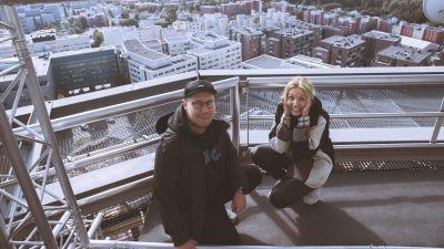 Jani Kareinen ja Anne Lainto Pasilan linkkitornissa