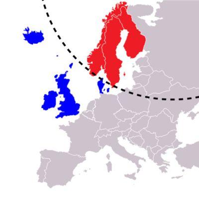 karta som visar norge,sverige och finland i rött och island,storbritanien och danmark i blåttmed en streckad båge som delar färgerna