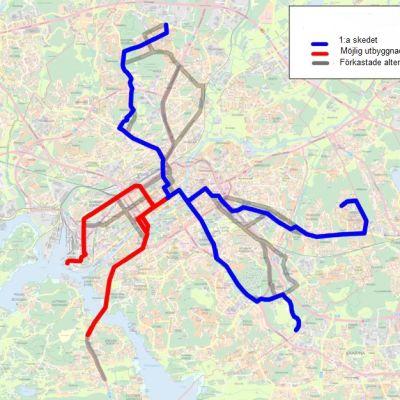 Karta över Åbos tilltänkta spårvägsnät