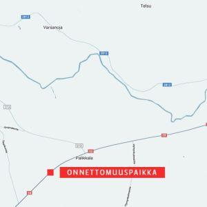 Kartta liikenneonnettomuuspaikasta Ypäjällä