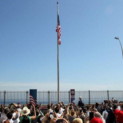 Den amerikanska flaggan hissades i Havanna i Kuba den 14 augusti 2015.
