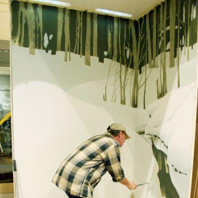 Luonnontieteellisen keskusmuseon työntekijä maalaa dioramalle taustaa.