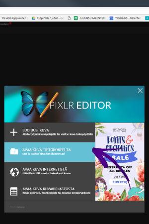 Kuvan formaatin vaihtaminen Pixlr -ohjelmalla