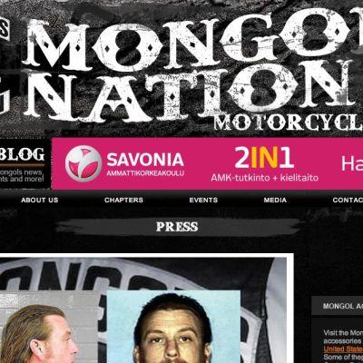 Ruutukaappaus Mongols Nation -moottoripyöräjengin nettisivuilta