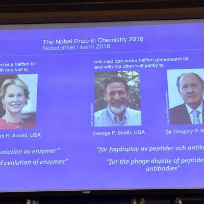 Kuvassa taustakankaalla kemian Nobel-palkittujen kuvat.