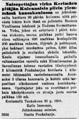 Naisopettajan virka Kerimäellä, Suomalainen Wirallinen lehti 1904