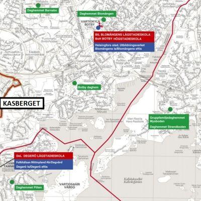 Skärmdump av Utbildningsnämndens karta över upptagningsområden