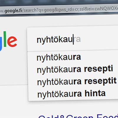 Nyhtökaura googlen hakukentässä