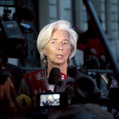 Christine Lagarde puhui medialle 24. toukokuuta Pariisissa.