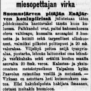 Miesopettajan virka Suomusjärvellä 1905.