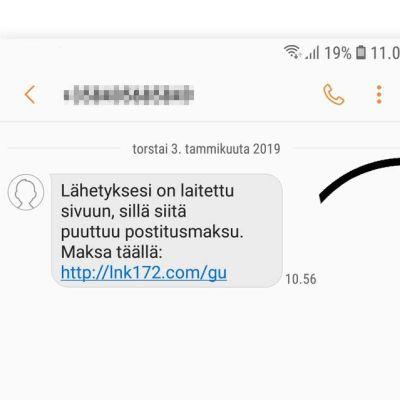 En bild på ett bluffmeddelande som sänts till finländare i Postens namn.