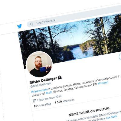 Kuvakaappaus Dellingerin omalla nimellä varustetusta Twittertilistä. Jutussa mainitut viestit on lähetetty toiselta tililtä, jonka Dellinger perusti 2010.