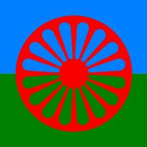 den romska flaggan är ett rött hjul på grön-blå bakgrund