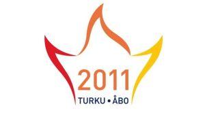 Logon för kulturhuvudstadsåret 2011 i Åbo - tre flammor i rött, orange och gult.