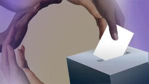 Tecknad bild med en mörk hand som lägger en röstsedel i en valurna.