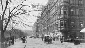 Fasader på Norra Esplanadgatan i svartvit bild.