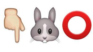 Kolme emojia, sormi, jänis ja O-kirjain.