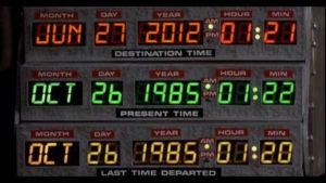 Kontrollpanelen i Marty McFlys tidsmaskin.