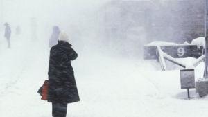 Människor i snöyra