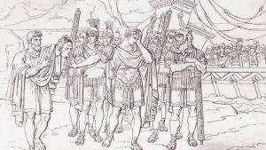 Ptolemaios visar Pompejus huvud för Caesar.