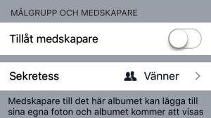 Skärmdump på inställningar av fotoalbum på Facebook.